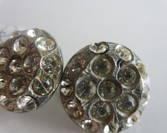 Vintage Buttons-2 matching beautiful possibly Sterling Silver, rhinestones 1950's silver metal (lot july 704)