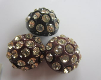 Vintage Buttons -  beautiful lot of 3, medium size Rays design rhinestones set in plastic, 2 raisin color and 1 black  1945-50's (july 841)