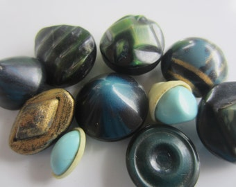 Vintage Buttons - Lot of 11 assorted blue and green novelty, light weight celluloid, novelty 30's-40's Retro, (aug 357)