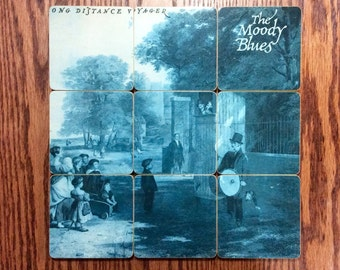THE MOODY BLUES recycled album cover coasters with record bowl