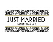 Just Married Wedding Car Magnets - Car Magnet Vintage Antique Art Nouveau Art Deco Wave Just Married Wedding Car Magnets