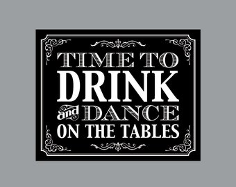 "DIY Printable Sign -  Vintage Antique Victorian Cottage Chic Rustic Chalkboard Wedding Reception ""Drink and Dance"" Sign"