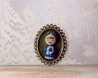 SHIPS AUGUST 3th- Brooch blue frida KAHLO girl Hand painted ooak wooden art doll wearable - Fashion Jewelry - Unique design - Stocking Stuff