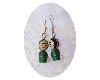 SHIPS AUGUST 3th FRIDA kahlo mini girl green Hand painted ooak earring wooden art doll wearable dangle black flowers - Unique design pattern