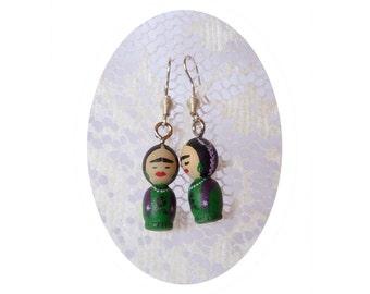 FRIDA kahlo mini girl green Hand painted ooak earring wooden art doll wearable dangle black flowers - Unique design pattern