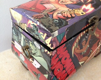 Made to order comic decoupage boxes.
