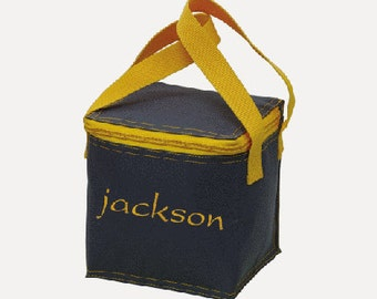 Personalized Grey and Gold trim Preschool Daycare Kindergarten School Small Lunch Box Snack Bag Personalized Embroidered Boys Toddler