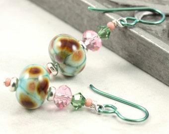 Multicolor Lampwork Earrings in Spring Green and Pink Crystal Green Niobium Ear Wires Hypoallergenic Earrings Dangle Fall Jewelry