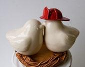Ivory Firefighter Love Bird Cake Topper