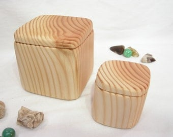 Douglas Fir Set of Two Wooden Boxes, nesting boxes, gratitude box, bandsaw box, office desk organizer, jewelry box, couples gift