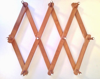 vintage peg rack - wooden mug cup rack - large ten peg accordian folding storage rack