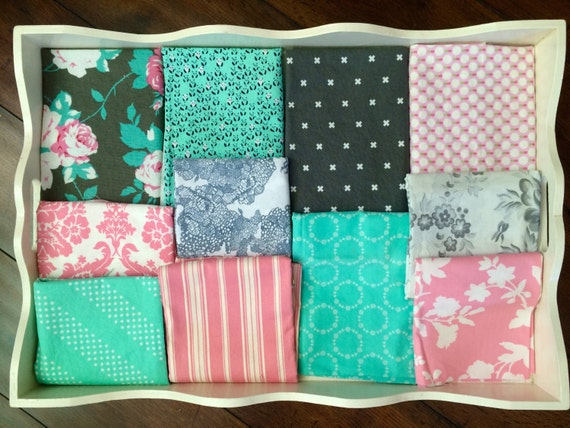 40X56 Tanya Whelan Grey, Pink & Aqua Quilt Made to Order