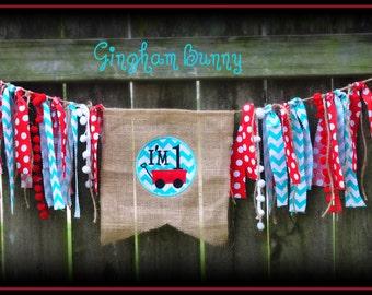 Red Wagon Birthday Banner, Red Wagon Cake Smash Banner, Birthday Banner, Birthday Banner Boy,
