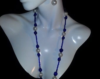 Blue Recycled Sea Glass and Pearl Necklace Set