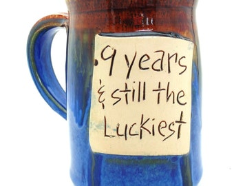 Anniversary mug, Handmade pottery  ceramics and pottery
