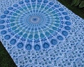 White, Turquoise and Green Tapestry Picnic Blanket , Stake Down Design