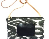 Lake of Fire Bag- Limited Run Medium Black and White Crossbody Bag with Leather Strap-Ready to Ship