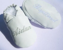 baby girl baptism shoes , baby boy baptism shoes , all white LEATHER baptism shoes , off white baptism shoes ,personalised baptism shoes