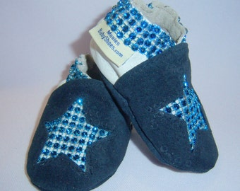 Leather baby shoes navy suede and white 0-6 mths