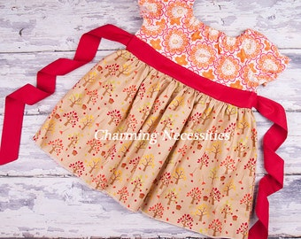 Apple Harvest Peasant Dress LONG or SHORT sleeves,  Green, Toddler Girl Clothes, by Charming Necessities Fall Back To School Dress