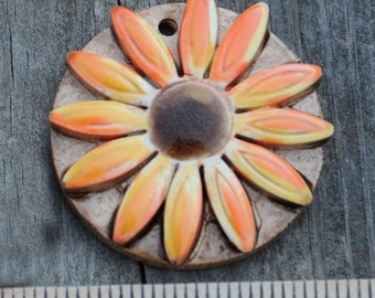 Handmade Pottery PENDANT Bead with Detailed Dimensional Flower