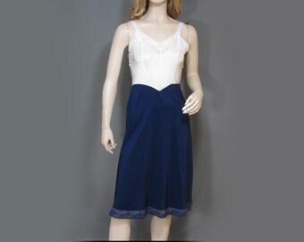 Vintage 30s Full Slip Charmode Rayon Navy Blue Blush Ivory Lace Sears 34