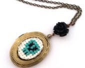 Teal Green Skull Cross stitch Locket necklace- xstitch fiber art wearable art  crossstitch day of the dead
