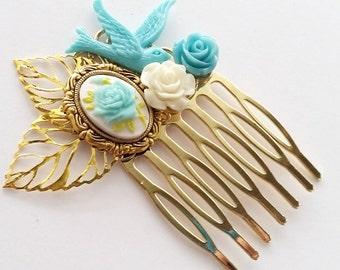 Sky Blue Rose Small Cluster Hair Comb - Fascinator Kitschy Cool Offbeat Wedding Bride Rose Bird