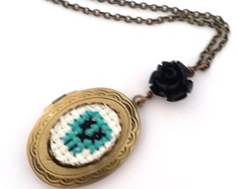Teal Green Skull Cross stitch Locket necklace- xstitch fiber art wearable art  crossstitch day of the dead