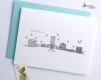 Tallahassee, Florida - United States - City Skyline Series - Folded Cards (6)