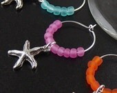 Wine Charms 6 Silver Star Fish Beads Stemware Glass Gifts Wedding Favors (1006win20s1)