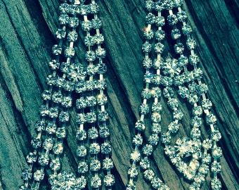 Vintage 80s drop rhinestone earrings 3.5 inch pierced