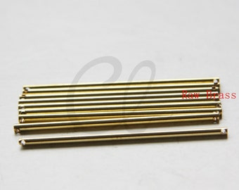 10pcs Raw Brass Long Bar - Round Bar - Link - Stick - TWO HOLES 2x51mm (3036C-M-4)