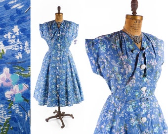 Vintage 50s Dress // 1950s Dress // Cotton Floral Dress // NOS Dress // Full Skirt Dress  - sz XL - 35 Waist