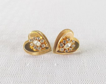 1950s Vintage Coro Heart Earrings with Rhinestones Screw Back Style