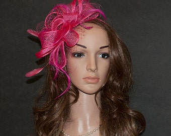 Large hot pink, pink fascinator for the weddings, Ascot, Derby, other special occasions