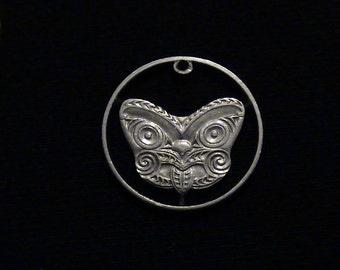 New Zealand - cut coin pendant - Tribal Maori Mask - 1980