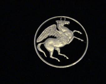 GREECE - Pegasus - cut coin pendant - 1973