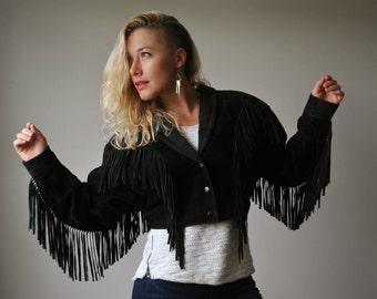 1980s Black Angel Fringe Jacket~Size Medium