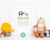 Modern Elephant Birth Print, Adoption Print, Baptism Print