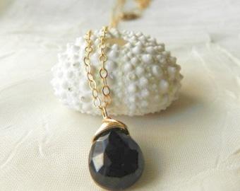 Solitaire Black Spinel Drop Necklace