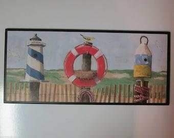 Beach Birdhouses wall decor plaque, life preserver lighthouses ocean coastal style