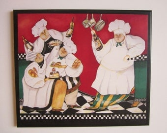 Chefs Leaning On Counter French Kitchen Wall Decor Picture Fat Chef With Wine
