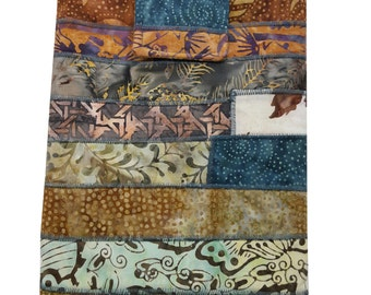 Tablet or IPad Sleeve Padded in Blue and Brown Batik Fabrics