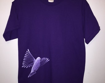 Hand painted dove shirt, adult medium