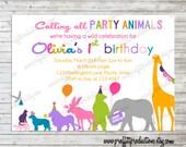 Wild Party Animals on Parade custom photo birthday party invitation - digital file