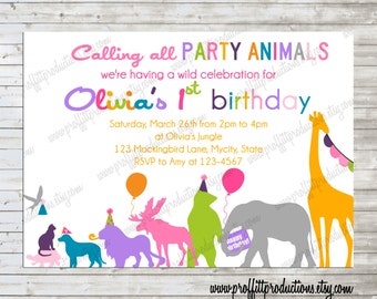 Wild Party Animals on Parade custom photo birthday party invitation - digital file