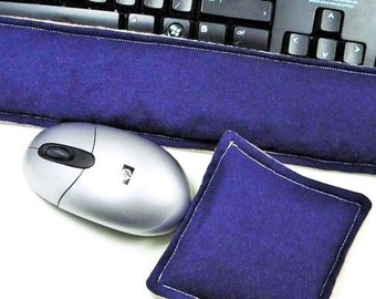 Wrist Rests for Computer Keyboard and Mouse, hot and cold therapy packs, gift for guy under 20, navy, tan