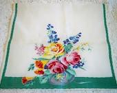 Vintage Wilendur Floral Bouquet Kitchen Towel Roses Trumpet Flowers Bluebells Tea Towel Book Piece