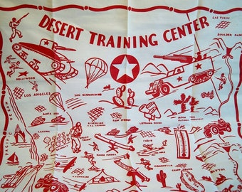 Vintage 1940s WWII Desert Training Center Tablecloth Soldier Tank Bomber Plane Jeep Parachute Rocket Launcher California
